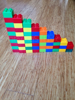 Making patterns with duplos is a math activity preschoolers love.