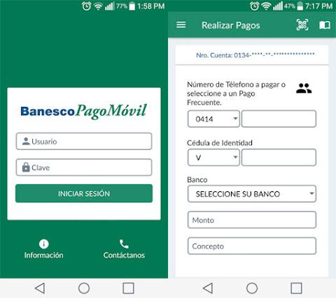 Captura de aplicación Banesco Pago Móvil