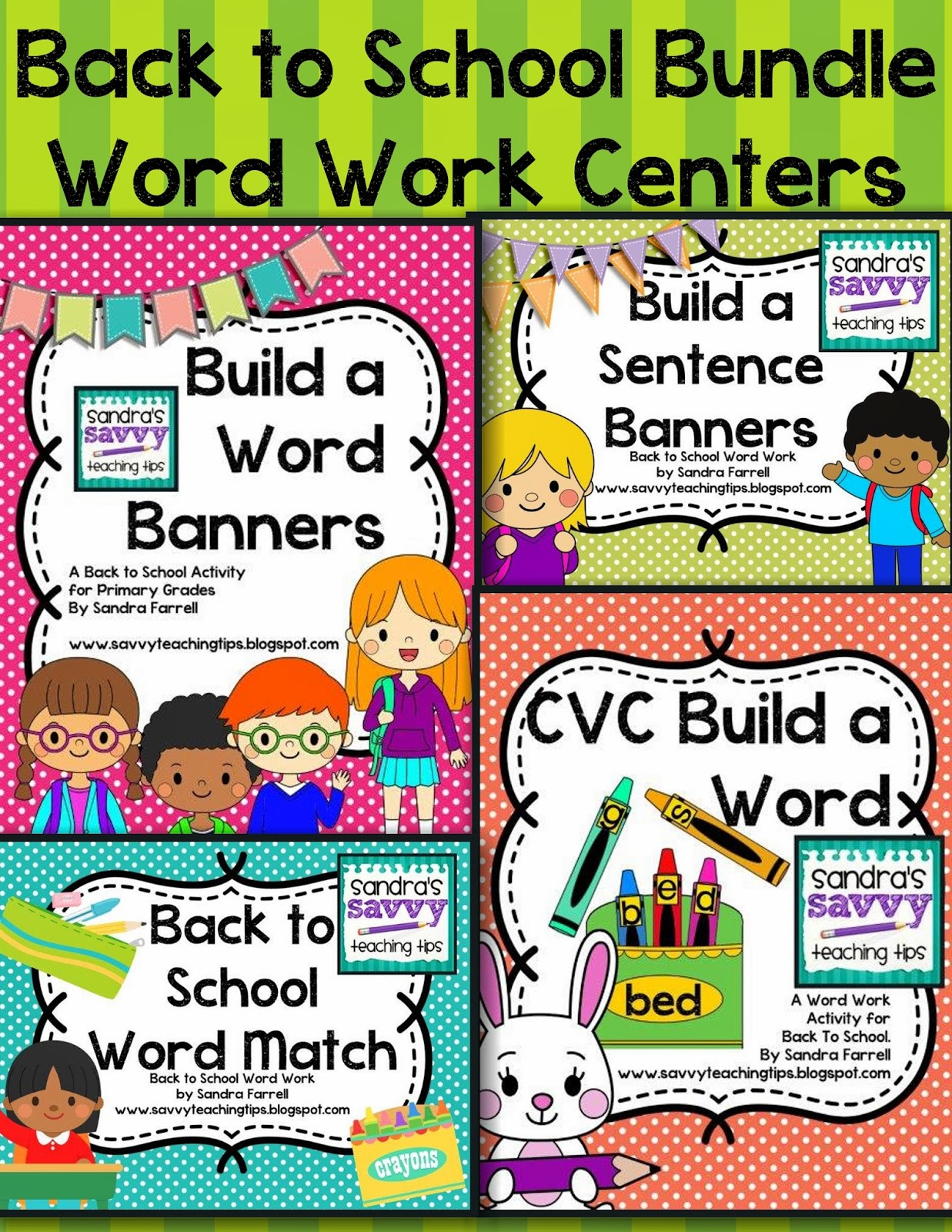 These Word Word Centers are perfect for Kindergarten and First Grade.  My favorite are the Build a Word Banners