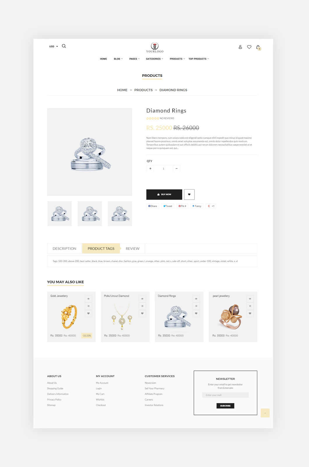 Jewellery Website Product details page Template Inspiration