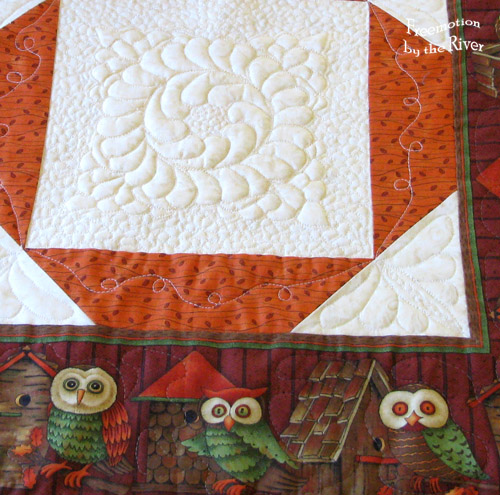 Cute owls on the fabric
