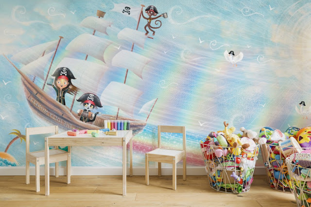 A pirate themed wall mural in a childs room