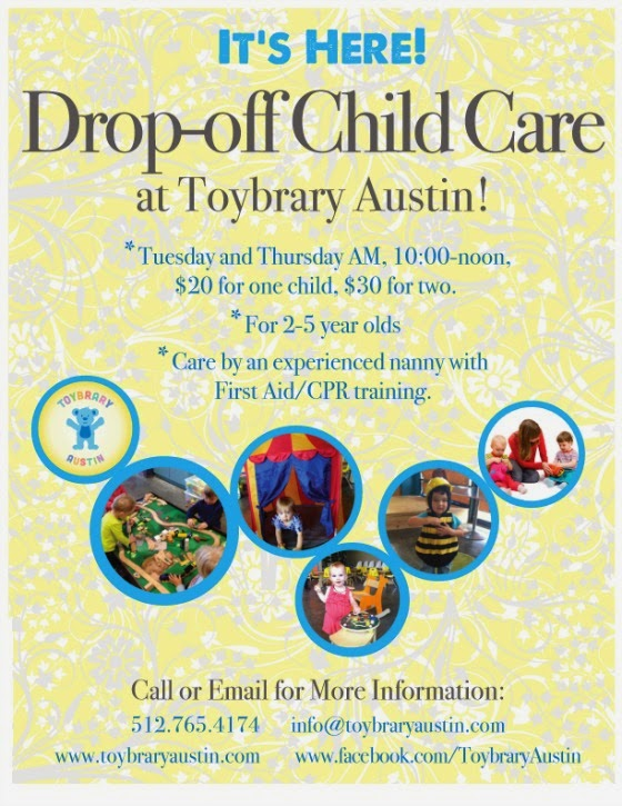 Giveaway Drop-Off Child Care at Toybrary Free Fun in Austin