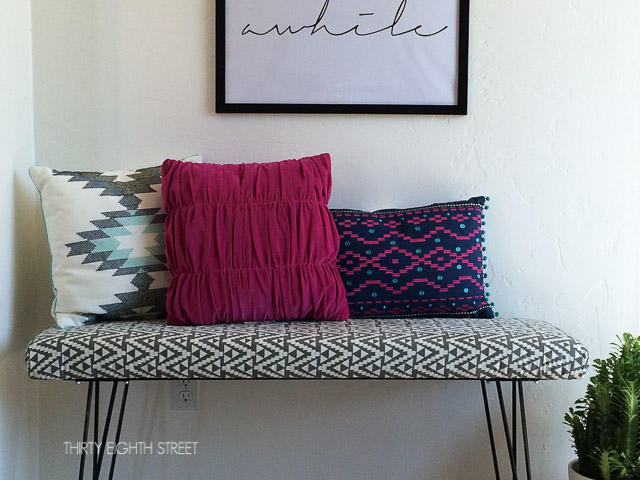 diy modern hair pin bench tutorial, cutting plywood to make a bench, how to attach hairpin legs to furniture