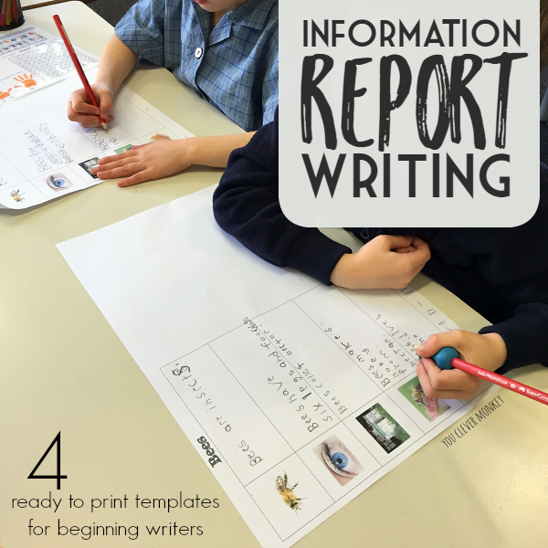 Information Report Writing Printable Templates - 4 ready to print informative report writing templates that provide perfect visual support to beginning writers learning to write reports | you clever monkey