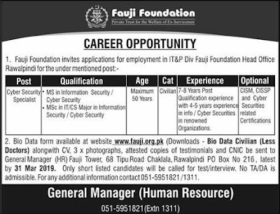 Fauji Foundation Jobs 2019 Latest Advertisement