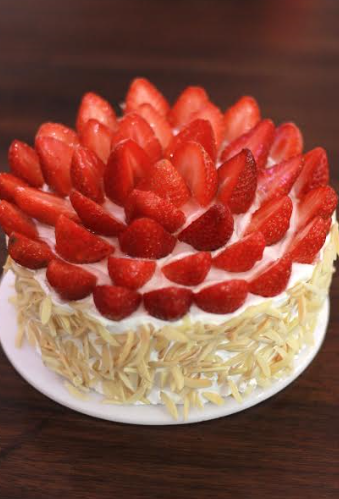 Strawberries and cream cake at Foodhall