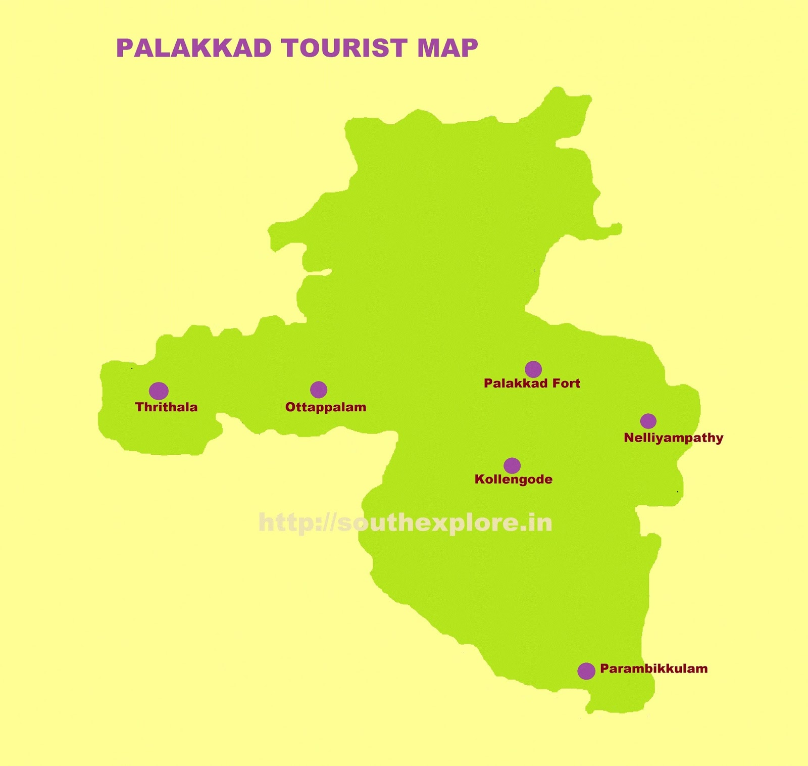 PALAKKAD TOURIST MAP – South India Map With Tourist Places