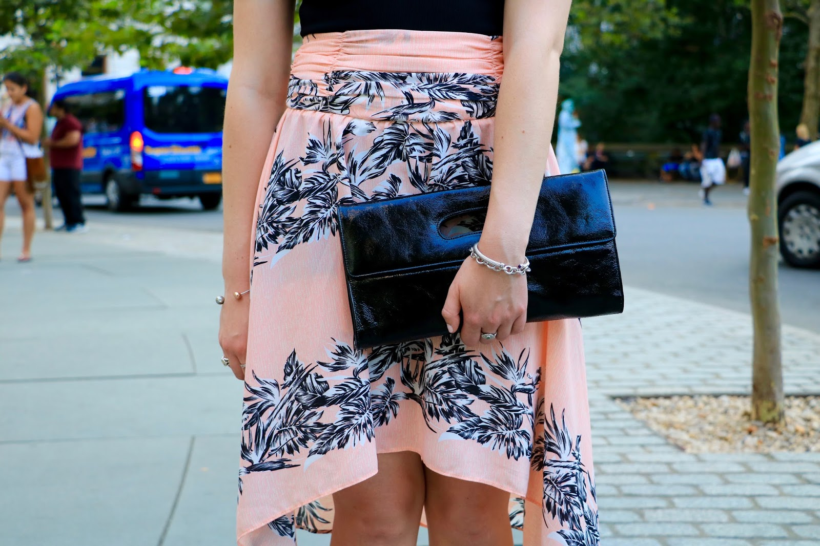 pink floral high low skirt zara