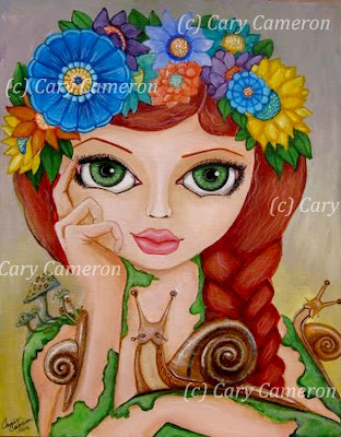 http://www.ebay.com/itm/ORIGINAL-folk-art-SNAILflower-BIG-EYE-girl-FANTASY-Lowbrow-Painting-CARYCAMERON-/322342113771?ssPageName=STRK:MESE:IT