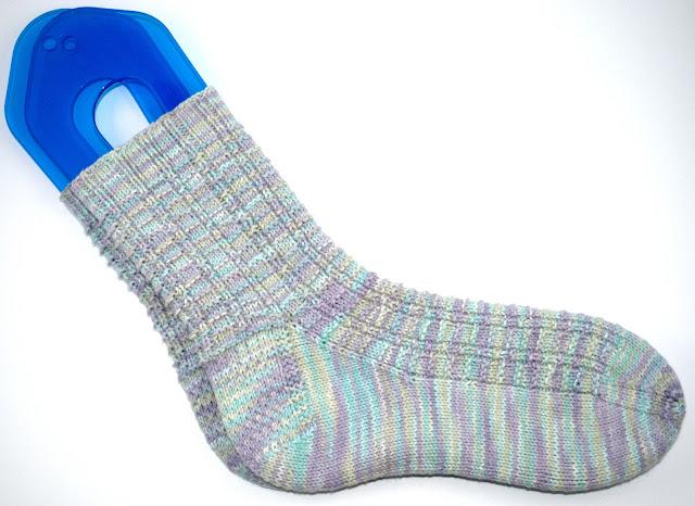 Hand knit cotton socks, finished knit socks