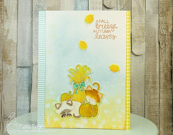 Fall Harvest cat card by Naki Rager | Autumn Newton Stamp Set by Newton's Nook Designs #newtonsnook #handmade