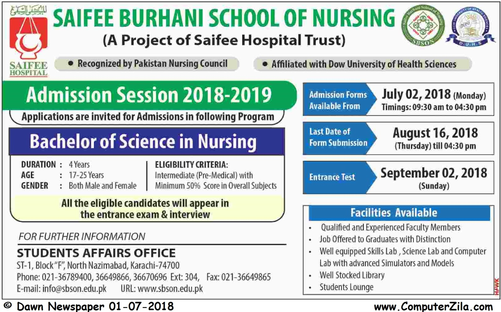 Saifee Burhani School of Nursing Admissions Fall 2018