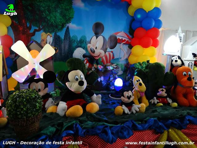 Decoração tema infantil Mickey Mouse para festa de aniversário