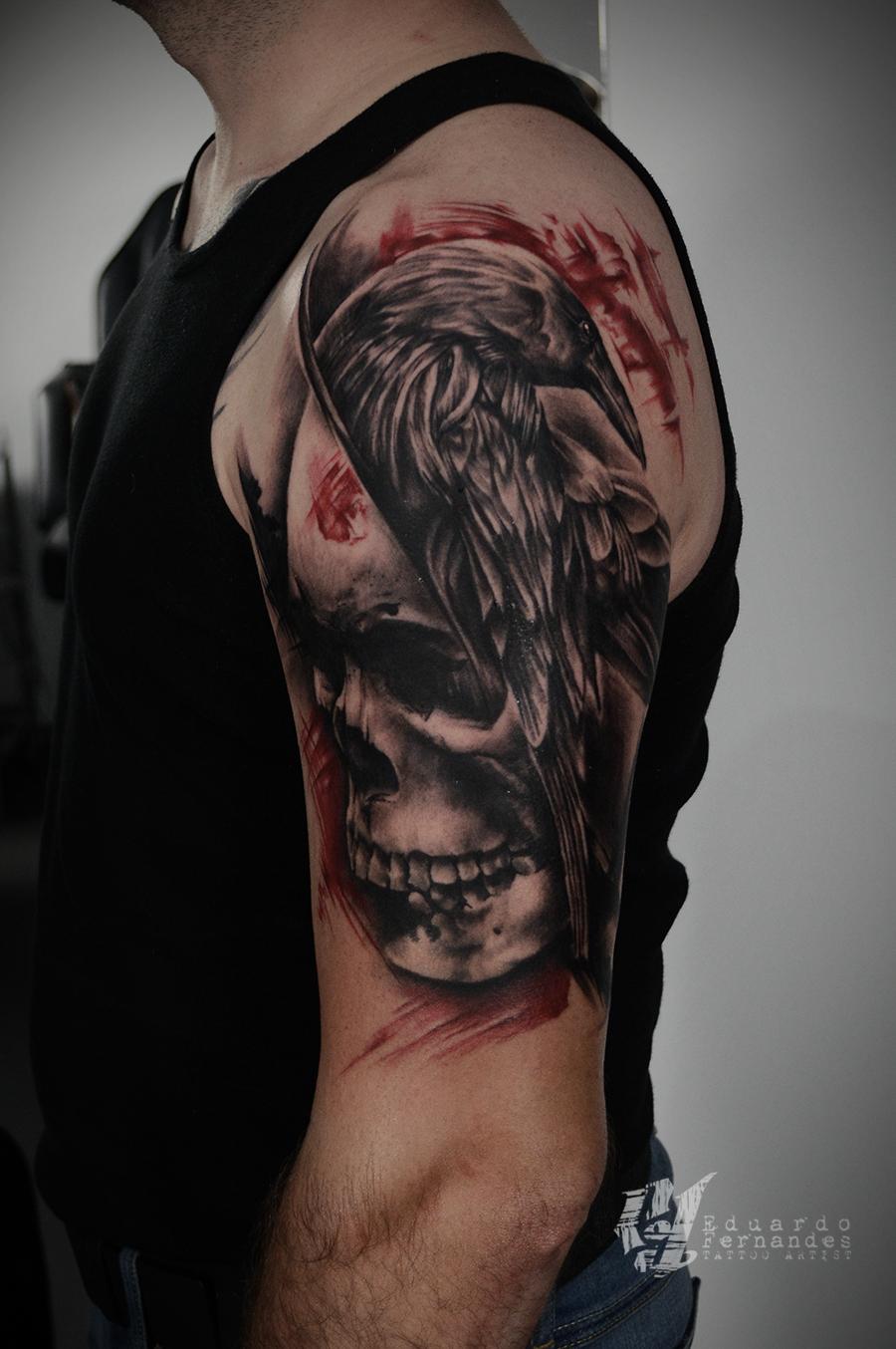 skull raven tattoo tattoos eduardo fernandes. Black Bedroom Furniture Sets. Home Design Ideas