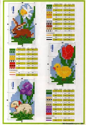 schemi e disegni per punto croce-ricami per pasqua-uova e pulcini da ricamare su tela aida(3)