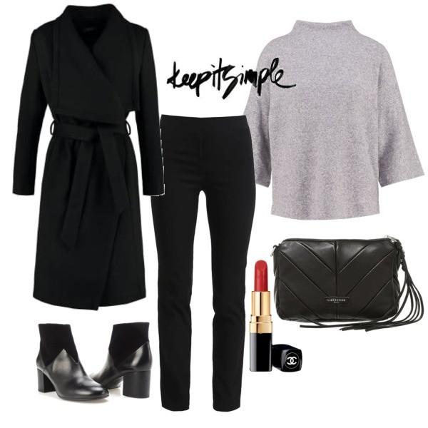 jesienna stylizacja. stylizacja z czarnym płaszczem. połączenie czerni i szarości