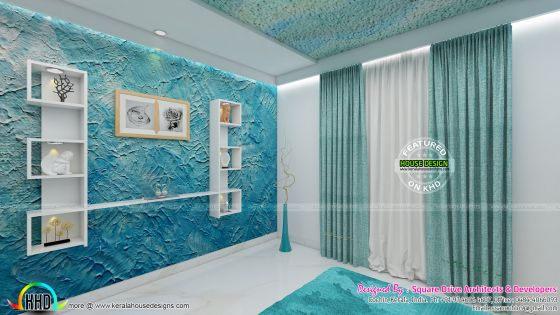 Blue color theme bedroom interior