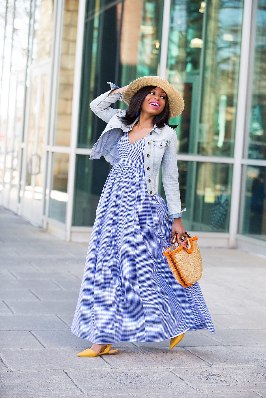 how to wear gingham maxi dress, www.jadore-fashion.com