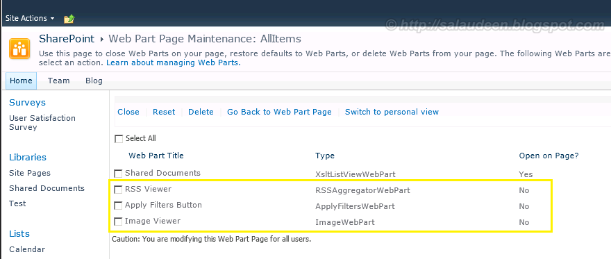 find closed web parts sharepoint 2010
