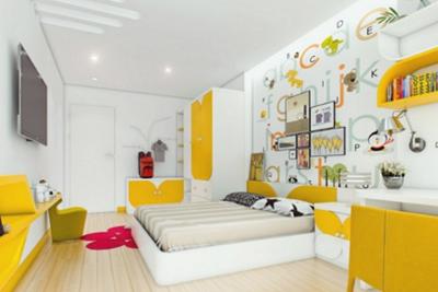 kamar tidur minimalis bernuansa kuning