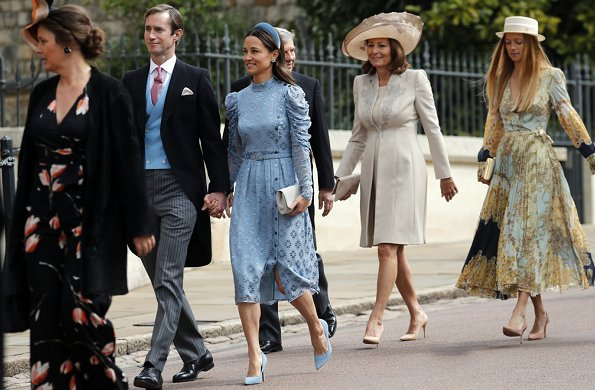 Lady Gabriella wore a bespoke dress designed by Luisa Beccaria, diamond tiara. Prince Harry, Pippa Middleton, Queen Elizabeth