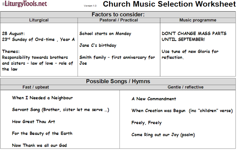 LiturgyTools net: Church service music selection worksheet