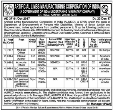 ALIMCO (Artificial Limbs Manufacturing Corporation of India) Recruitment Notification 2018
