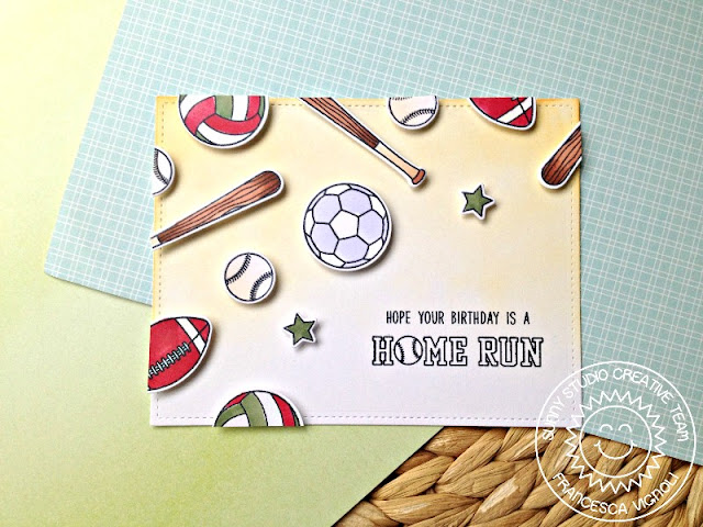 Sunny Studio Stamps: Team Player Sports Themed Birthday Card by Franci Vignoli