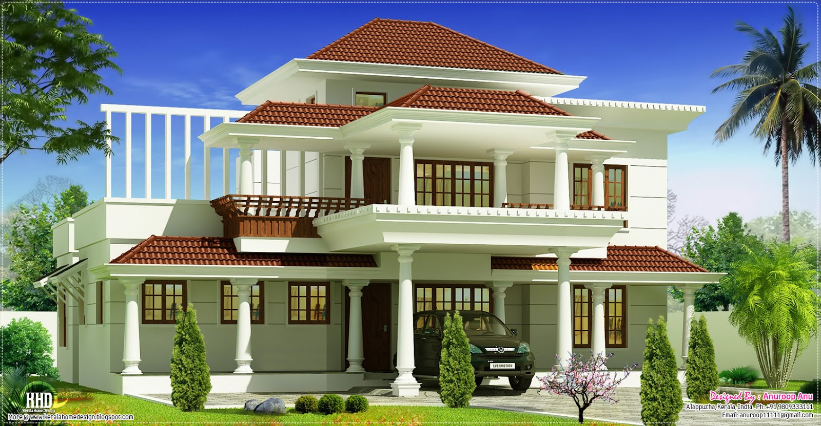 January 2013 kerala home design and floor plans for Beautiful 5 bedroom house plans with pictures
