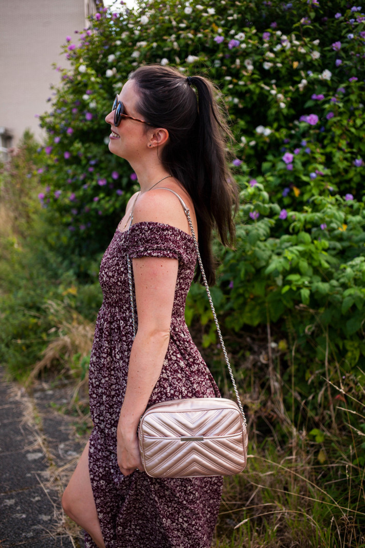 Outfit: off shoulder maxi dress, half up hair