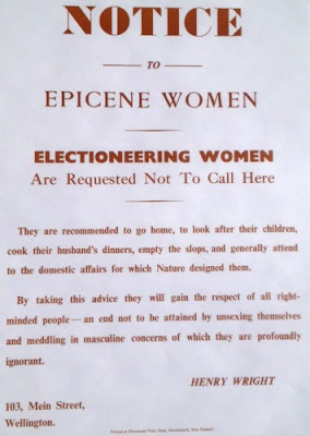 "Vintage NZ Letterpress Poster ""Notice to Epicene Women"""