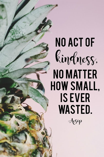 """No act of kindness, no matter how small, is ever wasted.""  So important to keep this in mind when it feels like nothing we could do would make a difference."