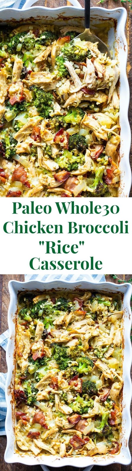 "Paleo Chicken Broccoli ""Rice"" Casserole #maincourse #paleo #chicken #broccoli #rice #casserole"