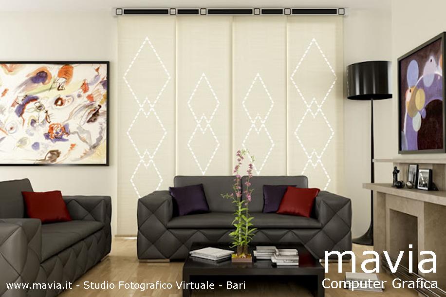 Arredamento di interni tende a pannelli moderne in for Salotto con camino