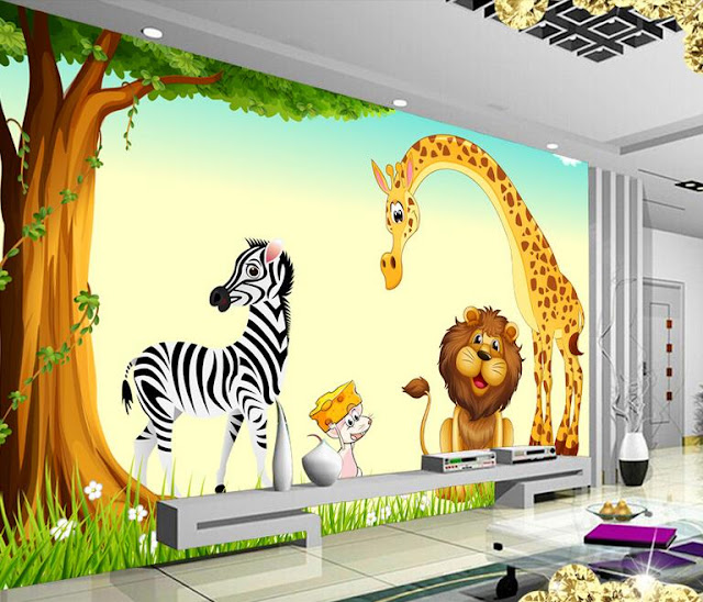 Jungle Wall Mural Kids Room Animals Cartoons