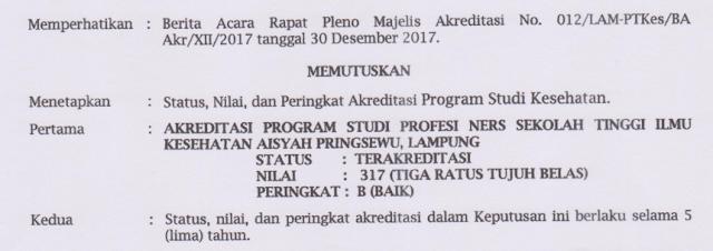 Prodi Ners STIKes Aisyah Pringsewu Raih Akreditasi B