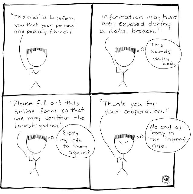 cartoon, humor, irony, amusedbits, data breach
