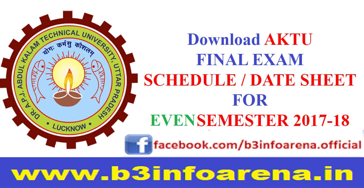 Download AKTU Even Sem Date sheet 2017-18