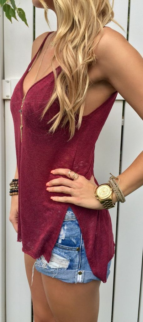 cute summer outfit / top and denim shorts