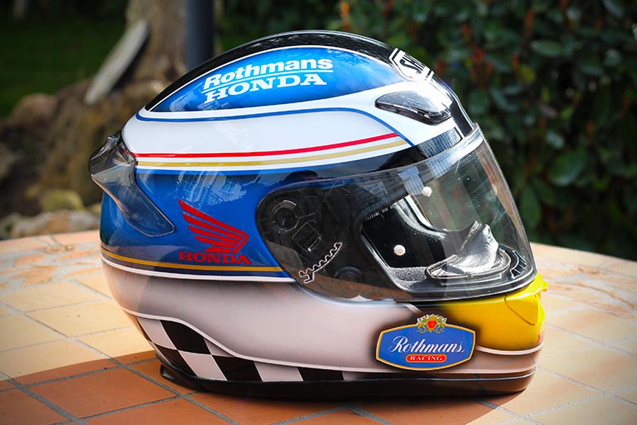 racing helmets garage shoei xr 1000 rothmans honda by. Black Bedroom Furniture Sets. Home Design Ideas