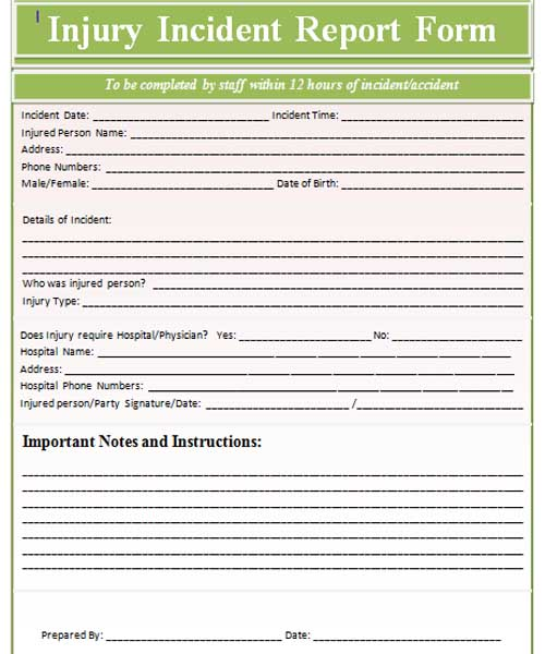 Injury Incident Report Form Template ,