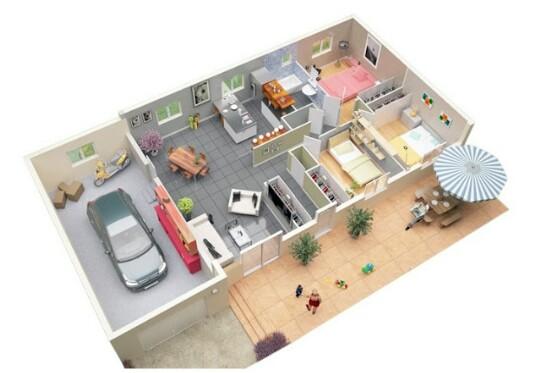 Denah Rumah Minimalis 1 Lantai 3 Kamar Tidur dan Garasi