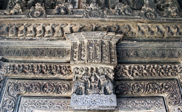 the lintel with Gaja lakshmi and five layers of sculptures of Suryanarayana temple