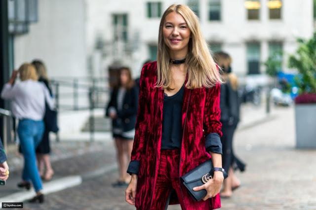 صور أزياء من المخمل بإمكانك ارتدائها إلى المكتب في موسم الشتاء 2018