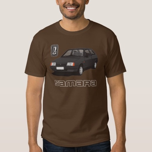 VAZ-2109 Lada Samara with white line text t-shirt