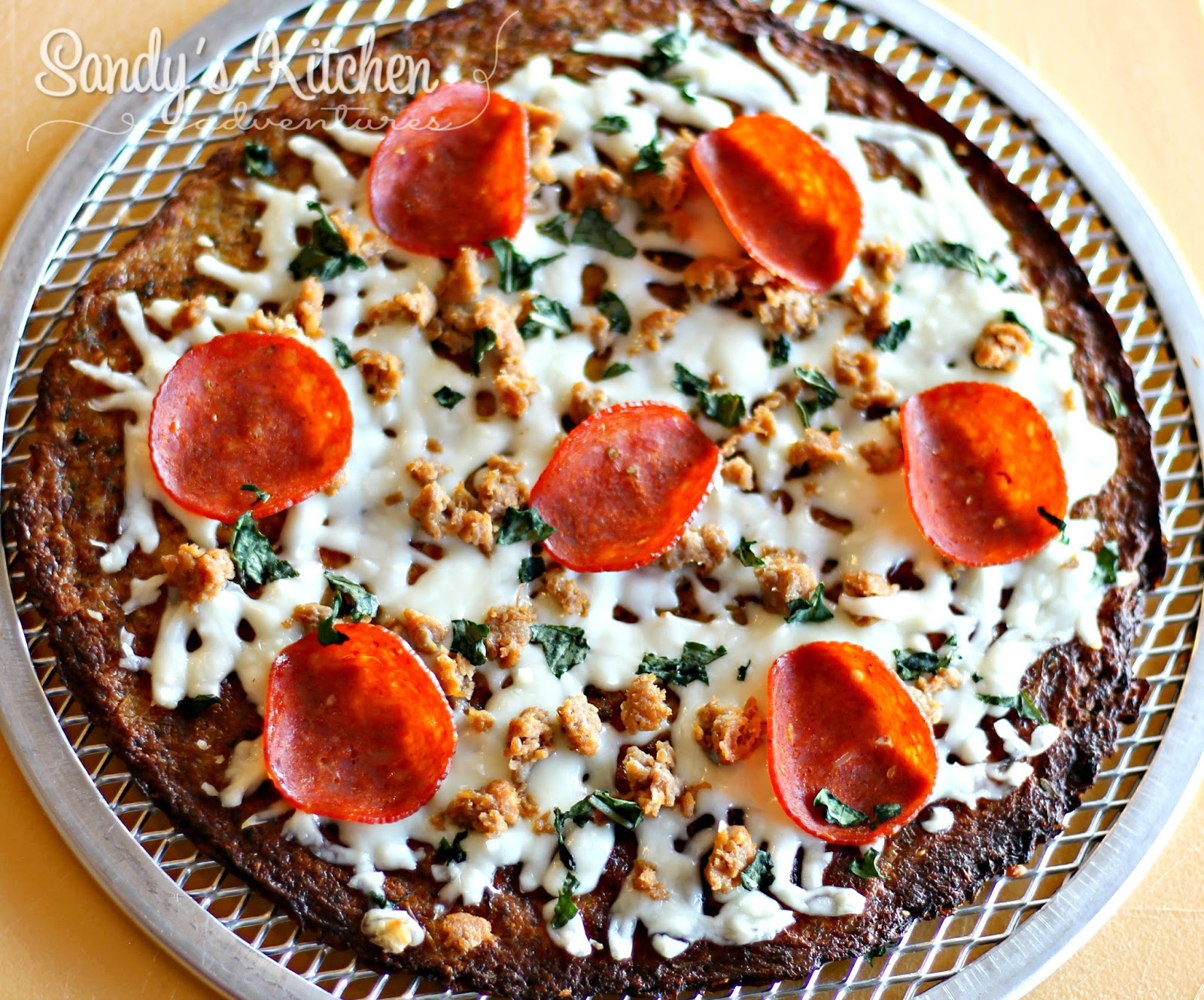 Pepperoni and Sweet Italian Sausage Pizza (A Califlour Crust Recipe ...