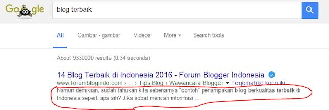 tampilan meta deskripsi yang default ke semua halaman blog