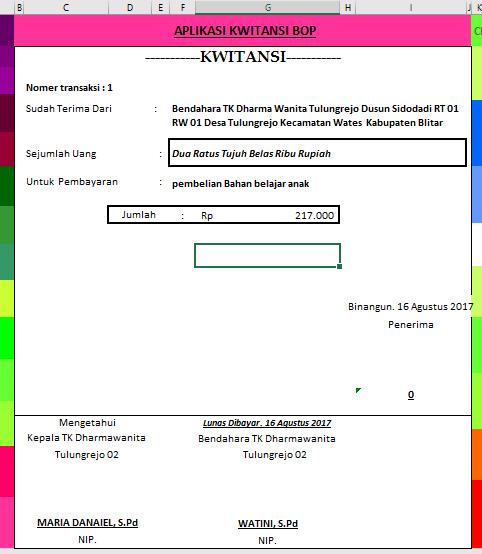 Contoh Kwitansi Detil Gambar Online