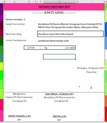 Download Aplikasi Kwitansi Otomatis Untuk Laporan Lpj Bop